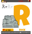 letter r worksheet with cartoon rock object vector image vector image
