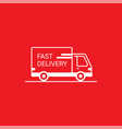 line icon- delivery van outline icon on white vector image vector image