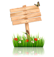 Nature background with green grass and flowers and vector image