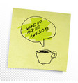 phrase in speech balloon on yellow sticky paper vector image