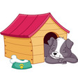 puppy sleeping in doghouse vector image vector image
