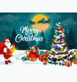santa near christmas tree and gifts on snow vector image