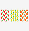 seamless patterns with strawberry lemon and mango vector image vector image
