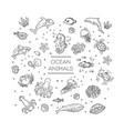 set sea or ocean animals icons vector image