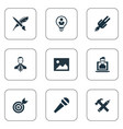 set simple visual art icons vector image