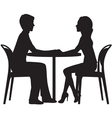 Silhouette of lovers on a date in the cafe vector image vector image