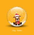 snow globe with christmas dog merry christmas vector image vector image