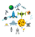 space flat icons set vector image