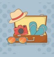 suitcase bag with travel vacations items vector image vector image
