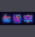 valentines day set neon sign vector image