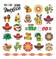 viva mexico icon set of cute various mexican vector image vector image