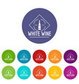 wine icons set color vector image vector image