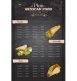 Drawing vertical color mexican food menu vector image