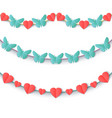 set garlands of colored hearts and butterflies vector image