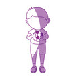boy with soccer ball cartoon vector image