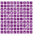 100 tea party icons set grunge purple vector image vector image