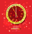 2020 new year shiny gold clock five minutes to vector image vector image