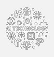 ai technology round concept outline vector image