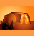 angel appeared at jesus tomb vector image