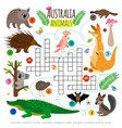 australian animals crossword kids words vector image