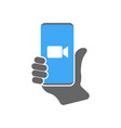 blue camera icon - live media streaming vector image vector image