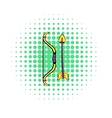 Bow and arrow icon comics style vector image vector image