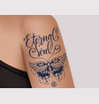 butterfly tattoo on female shoulder eternal soul vector image vector image