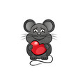 cartoon cute mouse love heart vector image vector image