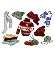 cozy hygge doodles cute clothes casual stickers vector image vector image