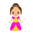 cute kawaii fairy tale princess in long dress and vector image vector image