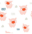 cute pigs seamless pattern vector image vector image