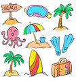 element summer of doodle style vector image vector image