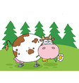 Fat Cow Eating Flowers Near Woods vector image vector image
