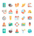flat summer icons vacation tour beach umbrella vector image vector image