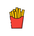 french fries outline color icon vector image vector image