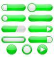 green menu buttons 3d oval web icons vector image vector image