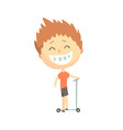 happy smiling cartoon boy riding a kick scooter vector image vector image