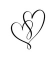 heart two black sign icon on white background vector image vector image