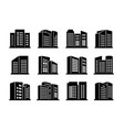 icons buildings and company set on white vector image vector image