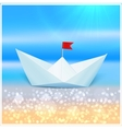 Little paper boat in a blue sea vector image vector image