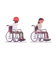 male female young wheelchair user moving manual vector image