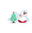 man in santa hat sitting near fir tree dreaming vector image vector image