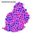 mosaic mauritius island map of square elements vector image vector image