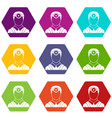 ophthalmologist with head mirror icon set color vector image vector image