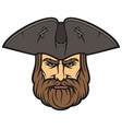 pirate head with sailor hat vector image vector image