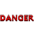 pixel danger red text detailed isolated vector image vector image
