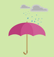 rain on red umbrella on background vector image