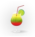 Realistic tropical cocktail in glass vector image