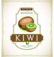 Ripe kiwi fruit on a juice or fruit product label vector image vector image