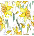 seamless floral decorative pattern with yellow vector image vector image